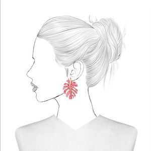 NEW! BaubleBar Pink Leaf Earrings